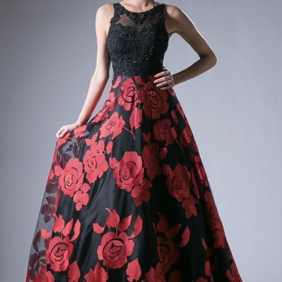 d81ed1d26f7 Floral print black and red prom Dress